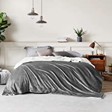 Bedsure Sherpa Fleece Bed Blankets Queen Size - Grey Thick Fuzzy Warm Soft Large Queen Blanket for Bed, 90x90 Inches
