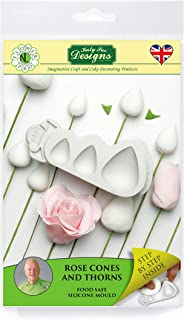 Rose Cones and Thorns Silicone Mold, Nicholas Lodge Flower Pro for Cake Decorating, Sugarcraft, Candies and Crafts, Food Safe