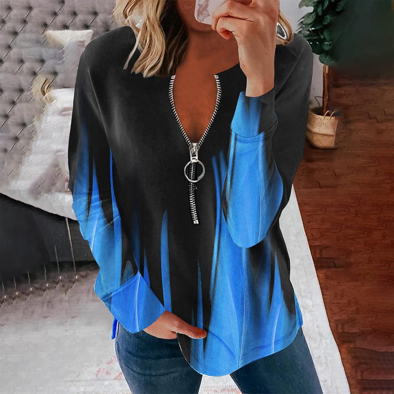 Jaqqra Sweatshirts for Women Causal Tie Dye Zip Up Sweatshirts Long Sleeve Pullover Tops Activewear Running Jacket