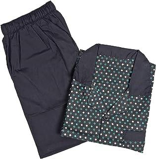 Mens Pattern Cotton Soft Pyjama PJ Nightwear Set - Black & Green Diamonds Medium