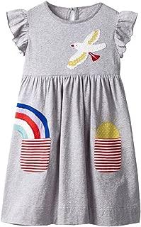 VIKITA Toddler Flower Girl Dress for Kids Baby Cotton Short Sleeve Dresses in Summer for 2-8 Years