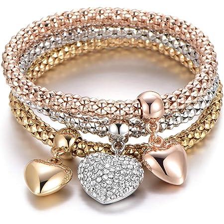 Bracciale elastico 3 pezzi per donna, bracciale catena popcorn con pendente ciondolo Bracciale in argento oro rosa bracciale per amico regalo (3 pezzi/set)