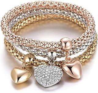 Bracciale elastico 3 pezzi per donna, bracciale catena popcorn con pendente ciondolo Bracciale in argento oro rosa braccia...