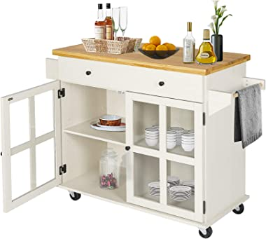 LAZZO Kitchen Island on Wheels Rolling, Home Kitchen Cart with Pine Countertop, Large Storage Trolley Cart with Cabinet, Draw