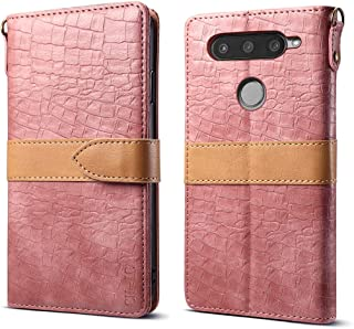 CH-IC Wallet Case for LG V40 ThinQ,LG V40 Wallte Case,Carrying Flip Folio Premium Leather Case Cover with Wrist Strap,Kickstand,Cash Card Slots,Magnetic Closure for LG V40 Thinq/Storm 2018 (Pink)