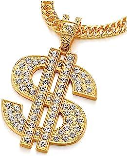 COOLSTEELANDBEYOND Hip Hop Punk Color Oro Grande US Dollaro Segno Denaro Collana Pendente con Strass da Uomo Donna
