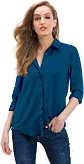 Women's Professional Casual Loose Long Sleeve Blouse Button Down Shirts Tops 5005