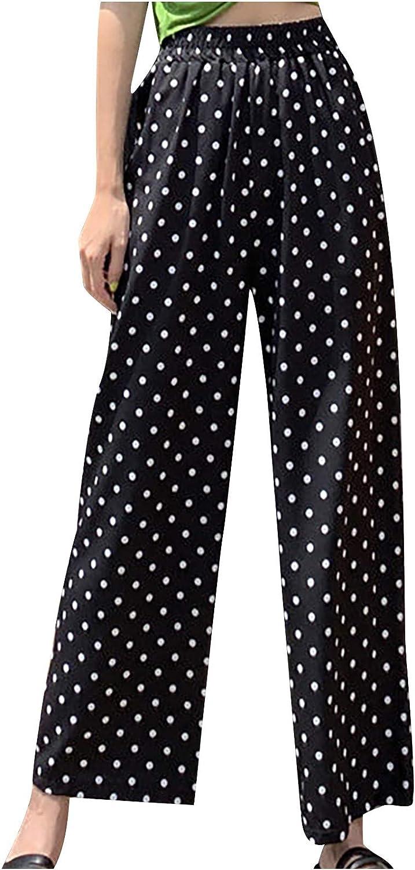 MASZONE Capri Pants for Women Summer Elastic Waist Wide Leg Palazzo Pants Casual Comfy Baggy Cropped Trouser Sweatpants