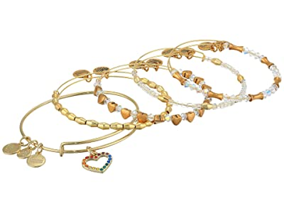 Alex and Ani Crystal Infusion Rainbow Heart Set of 5 Bangle Bracelet (Gold) Bracelet