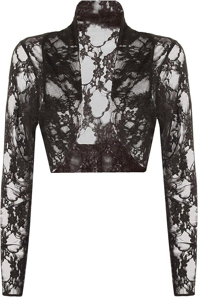 RM Fashions Women's Plus Size Floral Lace Bolero Long Sleeve Stretch Short Shrug Cardigan (Size US 10- US 24)