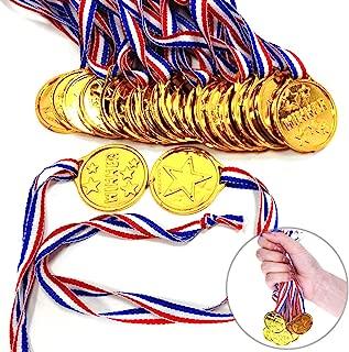 Shindel Winner Award Medals, 24PCS Kids/Children's Plastic Gold Winner Gold Award Medals with Neck Ribbon Party Favor Birthday Present Dress Up