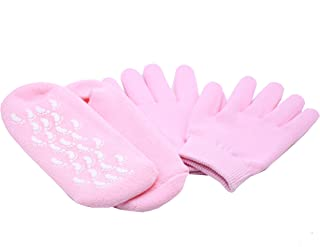 Moisturizing Spa Gel Socks and Gloves Set with Jojoba Oil, Olive Oil, Vitamin E, Rose Oil