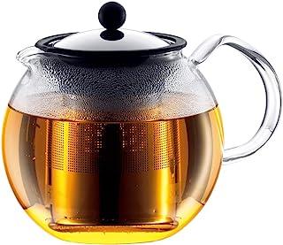 Bodum - 1801-16 - Assam - Théière à Piston en verre - Filtre et Couvercle inox - 1.0 L