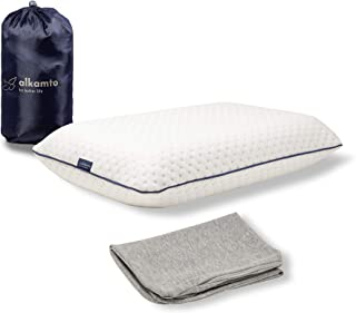 ALKAMTO Travel & Camping Orthopedic Memory Foam Pillow with Extra Cotton Cover – Easy to Carry Portable Bag – Temperature ...