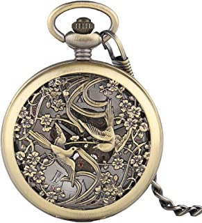Pocket Watches Chinese Magpie Flowers Pocket Watch, Carving Vintage Automatic Mechanical Fashion Fob Chain Clocks Creative Lovers Valentine Gift