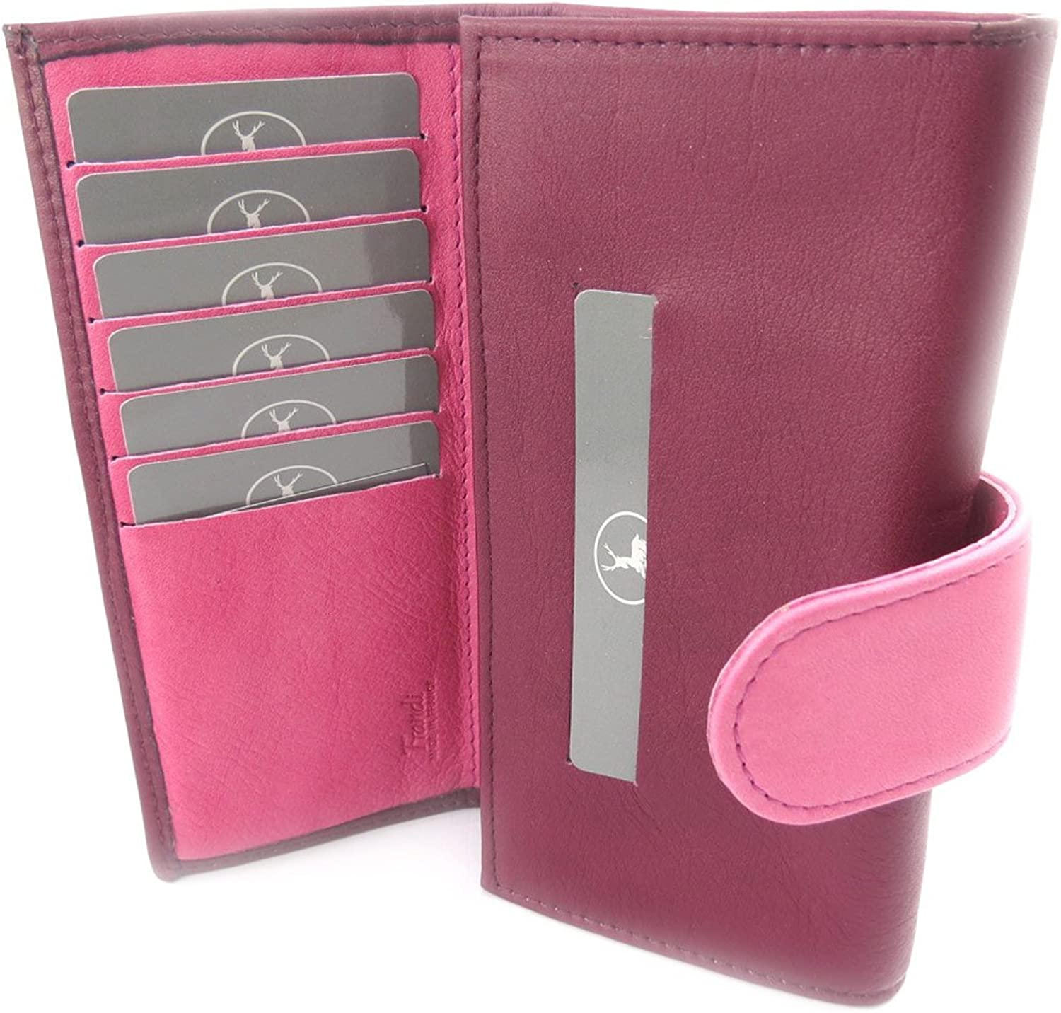 Large leather wallet 'Frandi' pink purple.
