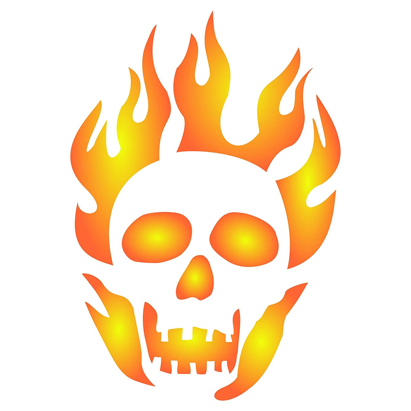 """Halloween Flaming Skull Stencil - (Size 8""""w x 11.5""""h) Reusable Halloween Wall Stencils for Painting - Best Quality Decor Ideas - Use on Walls, Floors, Fabrics, Glass, Wood, and More…"""