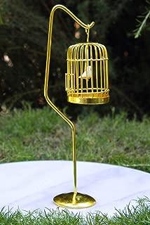 Miniature Dollhouse FAIRY GARDEN Furniture ~ Brass Bird Cage with Stand & Bird