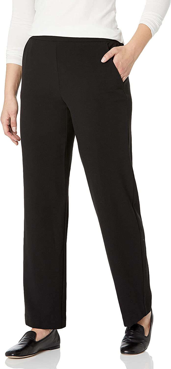 Briggs New York Women's Flat Front Pull On Pant with Slimming Solution