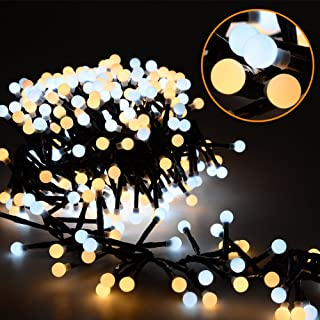 Litake LED String Lights, 26ft 400 LEDs Waterproof Indoor Outdoor Globe String Lights, 8 Modes Fairy Decorative Lights for Bedroom, Patio, Garden, Party, Wedding, Porch (Warm White+Daylight)