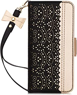 WWW Galaxy S10 5G Wallet Case,[Luxurious Romantic Carved Flower] Leather Wallet Case [Inside Makeup Mirror][Card Slots] [Kickstand Feature] [Detachable Wrist Strap] for Galaxy S10 5G (2019) Black