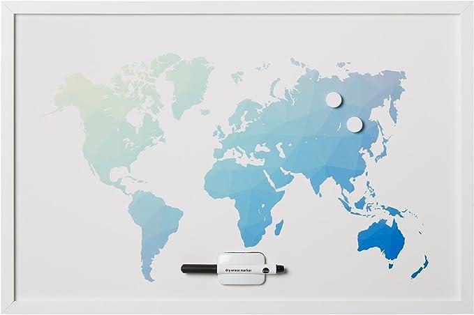 Bi-Office - Pizarra Mapamundi Polygon, Magnético, Borrado en Seco, Marco MDF Blanco, 90x60cm: Amazon.es: Oficina y papelería