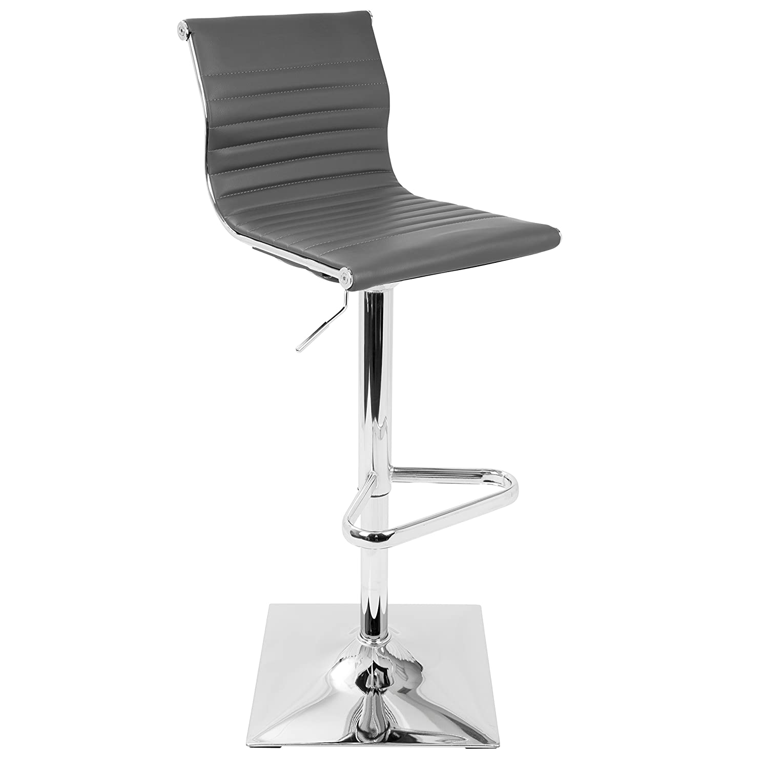 Clay Alder Home Tower Master Contemporary Adjustable Bar Stool in Faux Leather - Grey