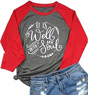 UNIQUEONE It is Well with My Soul Christian T-Shirt Women Raglan Long Sleeve Blouse Tee Top