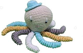 Pulpo amigurumi para recién nacido en color aguamarina, blanco gris y amarillo. Pulpo de ganchillo - crochet para bebé, id...