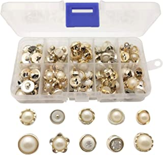 Chris.W 100Pcs Sew in Faux Pearl Buttons Sewing Crafts with Shank for Clothes Shirts Suits Coats Sweaters, 10 Designs, Storage Box Included(White and Gold)