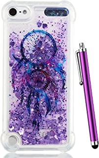 iPod Touch 6 Case Glitter, iPod Touch 5th Generation Case, iPod 6 Case for Kids, CAIYUNL Clear Glitter Liquid Bling Sparkle Slim Cover for Apple iPod Touch 6th 5 Generation&Stylus-Purple Aeolian Bells