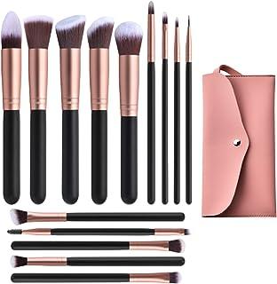 14 Pcs Conical Makeup Brushes Set With Case Bag,Professional Synthetic Kabuki Makeup Brush Set Kit for Cosmetics Foundatio...
