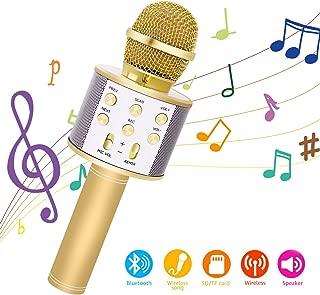 Bearbro Micrófono Inalámbrico Bluetooth,Micrófono Karaoke Bluetooth Portátil con Función Selfie para Niños Canta Partido Musica, Compatible con Android/iOS PC, AUX o Teléfono Inteligente (oro)