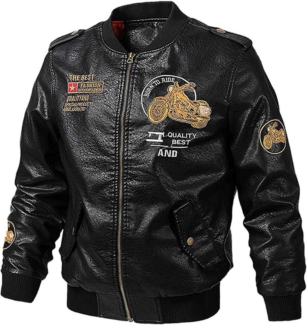 Baseball Suit Flying Leather Jacket Men's Spring And Fall Plus Size Loose Embroidered Motorcycle Jacket