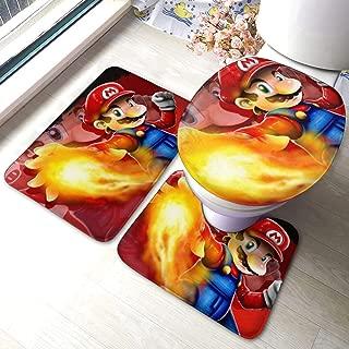 Super Smash Bros Mario Pokeball Pikachu Bath Mat 3 Piece Set Bathroom Carpet Set Soft Anti-Skid Pads Bath Mat + Contour Pads + Toilet Lid Cover, Absorbent Carpet Bath and Mat Anti-Slip Pads Set