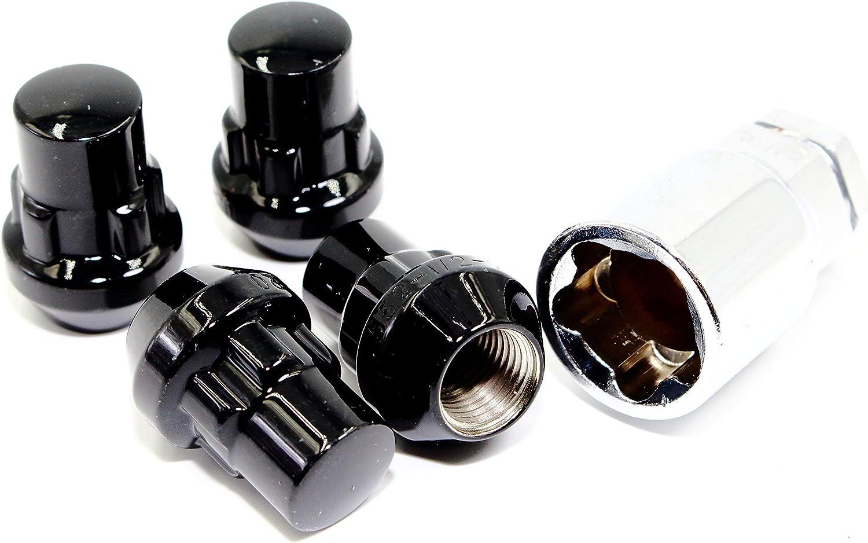 Set of 4 12x1.25 free Veritek Gloss Black 1.40 Inch Tuner Bulge Acorn half
