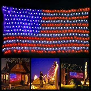 solar american flag lights