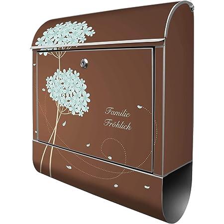 inkl A4 Einwurf Montagematerial Banjado Design Briefkasten personalisiert mit Motiv Tag Im Mai Stahl pulverbeschichtet mit Zeitungsrolle Gr/ö/ße 39x47x14cm 2 Schl/üssel