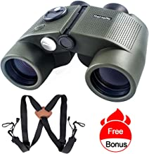 ReHaffe Military Binoculars 7x50 Waterproof,Marine Binoculars Build with Rangefinder and Compass Built for Adults Navigation Marine Sports Boating Sailing and Hunting Adventure