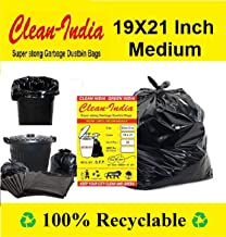 Clean India™- Garbage Bags| Medium:19X21 | 4 Packs of 30 Pcs-120 Pcs | 100% Recyclable Garbage Dustbin Bags - Black