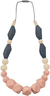 REIGNDROP Baby Teething Necklace for Mom, Silicone Teether Necklace for Teething Pain Relief in Babies and Toddlers, Sensory Chew Necklace for Kids Adult (Peach/Ivory/Grey)