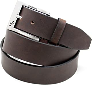 """STARHIDE Mens 1.25"""" Full Grain Genuine Leather Casual Belts With Detachable Single Pin Buckle SB07"""