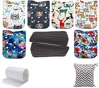 WO-WA Baby Boy Girl Cloth Diapers, Adjustable Reusable Pocket Nappy 6 pcs Diapers+ 6 pcs Inserts(color2)