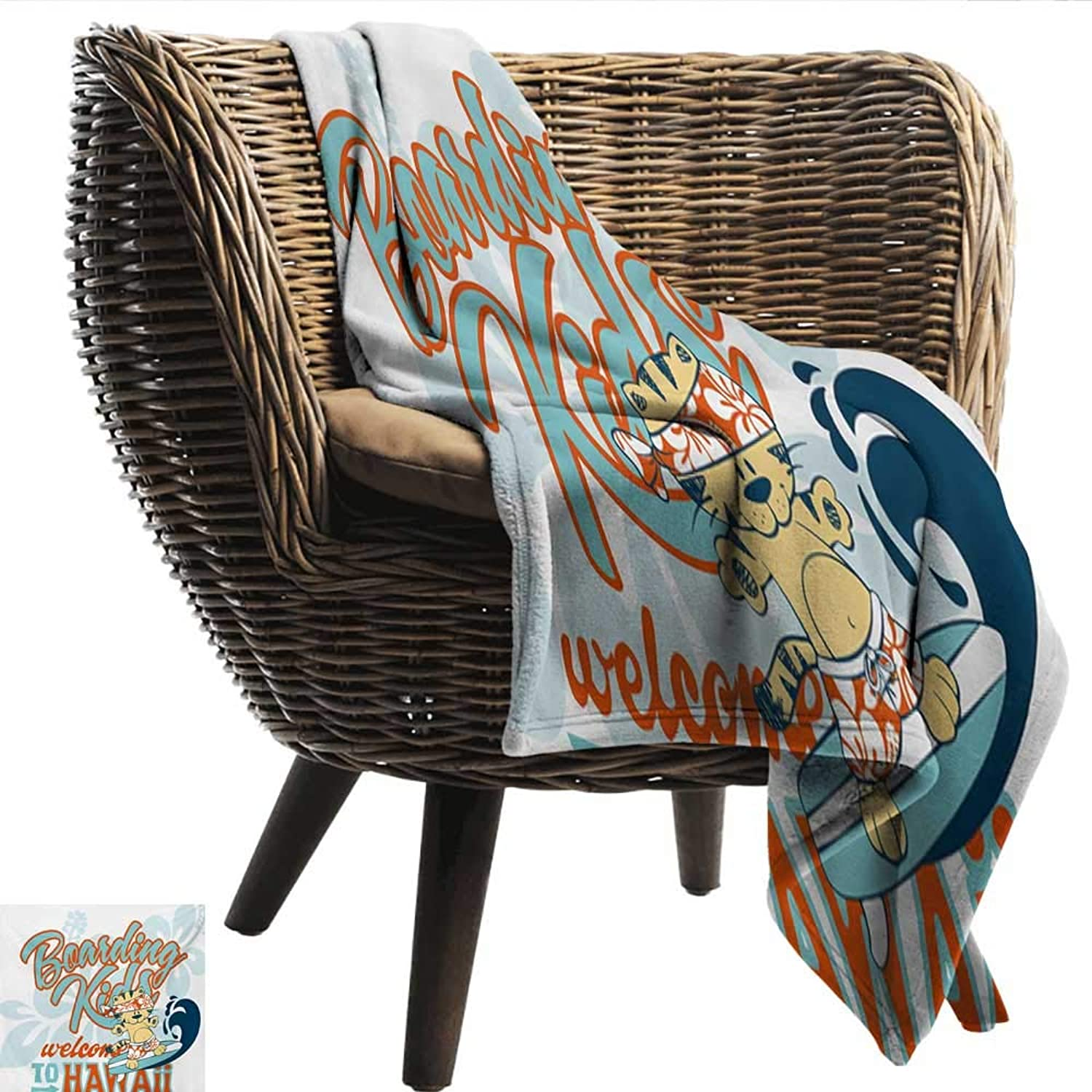 EwaskyOnline Toddler Blanket Cute Kitten Surfing Boarding Kids Hawaii Animal Fun Abstract Floral Blanket on Bed Sofa Bedding 60  W x 51  L Turquoise orange Dark bluee