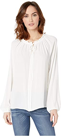 Lorelai Shirring Tie Neck Top
