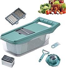 Groentehakmolen, Ui Veggie Slicer Chopper, Spiralizer Groentesnijder Hakmesjes met duurzame fruitsnijder Snijder Container...