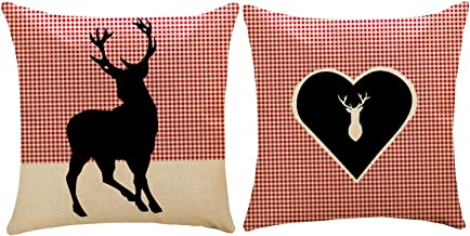ZUEXT Red & Black Buffalo Check Plaid Christmas Reindeer Throw Pillow Covers 18x18 Inch Set of 2, Cotton Linen Square Decorative Holiday Farmhouse Xmas Cushion Pillowcases for Sofa Couch Home Decor