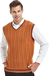 TOPTIE Men's 100% Cotton Knit Sweater Vest