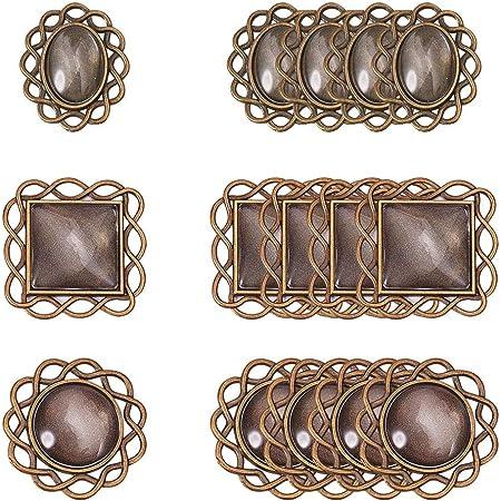 PandaHall Kit per ciondoli collane Fai da Te con basi di ciondoli di Lega e cabuchon di Vetro Transparente, Mixed Shape, Antique Bronze Accessori Component di Gioielli
