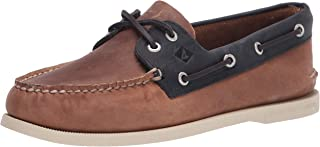 Sperry mens A/O 2 Eye Boat Shoe, Tan/Navy, 12 US